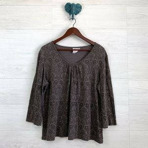 Hot Cotton Taupe Brocade Scoop Neck Knit Top
